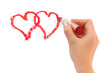 Hand with lipstick drawing hearts isolated on white background