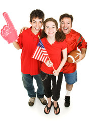 Group of happy sports fans.  Full body isolated on white.