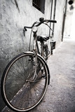 Lonely bicycle. High contrast effect. poster