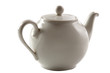 Classic white teapot isolated background