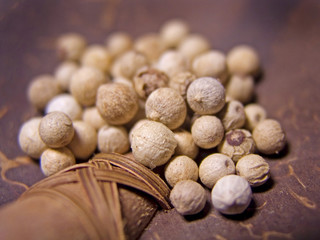 Close up details of  white peppercorns on coconut ladle