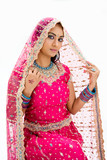 Fototapety Beautiful Bangali bride in colorful dress and veil, isolated