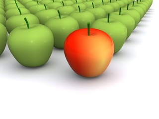 red apple leadership. 3d food