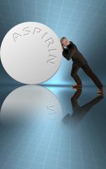 Man leans on giant aspirin