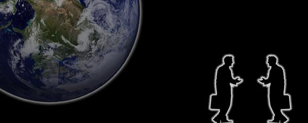 Hommes d'affaires et Terre