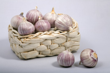 fresh bulbs of garlic in the small basket