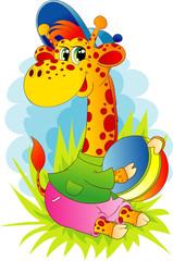 Giraffe with a ball