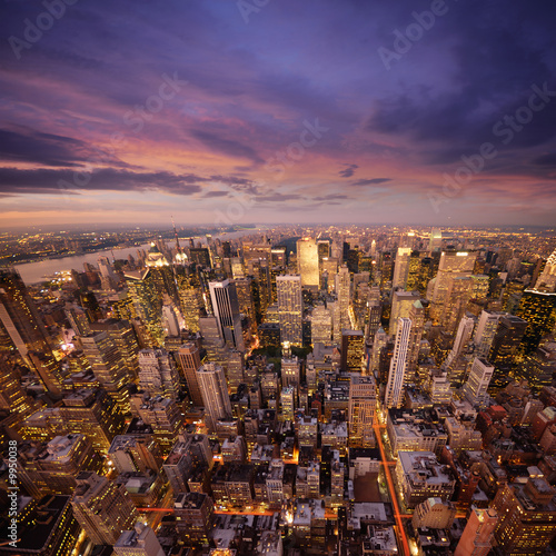canvas print picture big apple at sunset