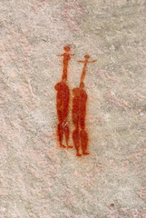 two african aborigine woman. bushman's prehistoric cave mural
