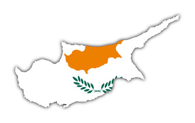 map and flag of cyprus on white background