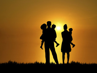 family at sunset 2