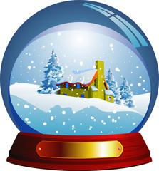Vector snow globe with a Santa house within