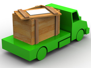 Trailer with crate. 3d