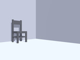 grey chair in a monochrome room - 3d illustration poster