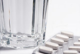 pharmaceuticals with water in glass poster