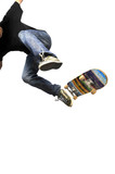 Fototapety Boy practicing skate in a skate park - isolated