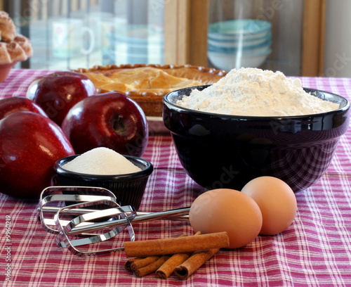 Pie baking with apples