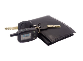 Automobile keys and a black wallet