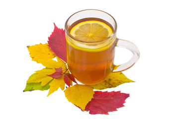 Cup of tea with a lemon and autumn leaves
