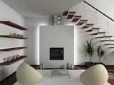 Fototapety Modern design interior of living-room. 3D render