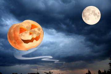 Flying Halloween pumpkin smiling at the moon.