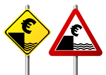 Dollar currency fall represented by traffic signs