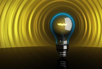3d High-quality Lightning bulb. Creativity concept.