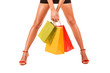 Attractive legs with colorful shopping bag