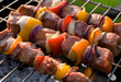 kabobs grilled with vegetables on metal skewers