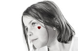 Cute Little Girl with Red Heart on Cheek poster