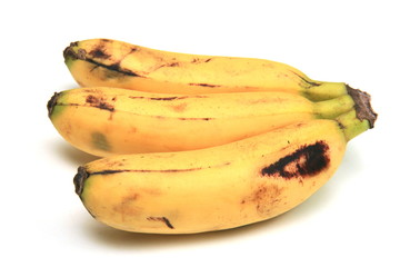 Three bananas ripe for consumption.