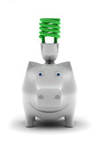 Happy piggy bank, smiling about conserving energy poster