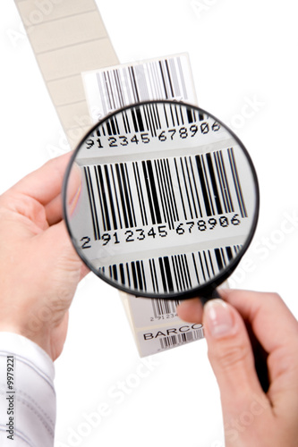 barcode labels ribbon, isolated on white