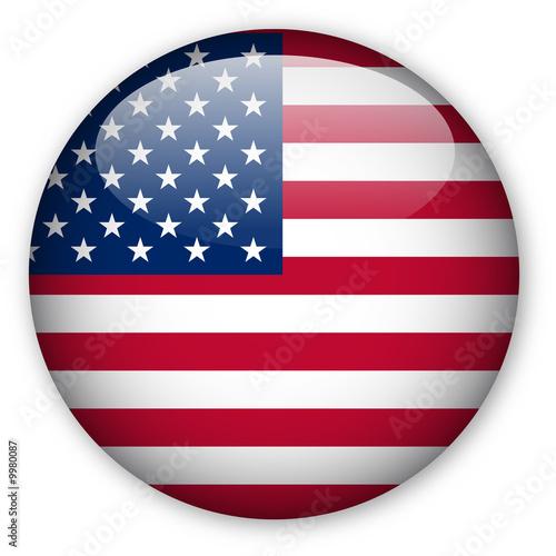 canvas print picture USA Flag Button