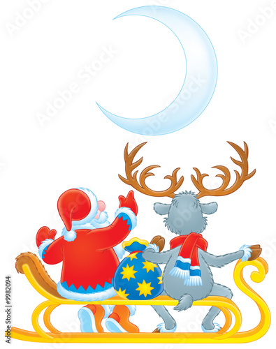 Santa Clause and Reindeer (color contour)