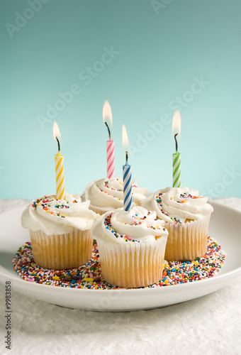 Birthday Cupcakes with Colored Candles