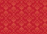red elegant Victorian retro motif wallpaper Pattern poster