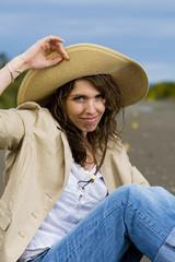 Pretty Woman in a floppy hat