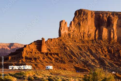 Recreational vehicles camping in Monument Valley