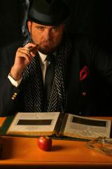 big sinister business man smoking a cigar