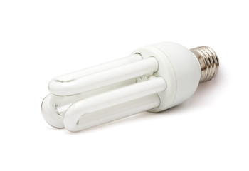 Isolated white fluorescent lamp. White background.