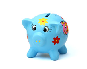 The blue still bank - pig. White background.