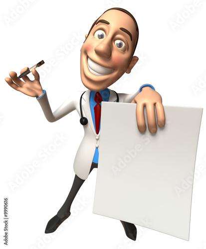 Docteur avec un signe blanc