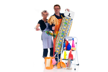 Houseman and housewife with ironing-board and ladder