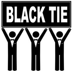 men wearing tuxedo holding sign saying black tie