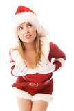 beautiful dreamy girl dressed as Santa poster