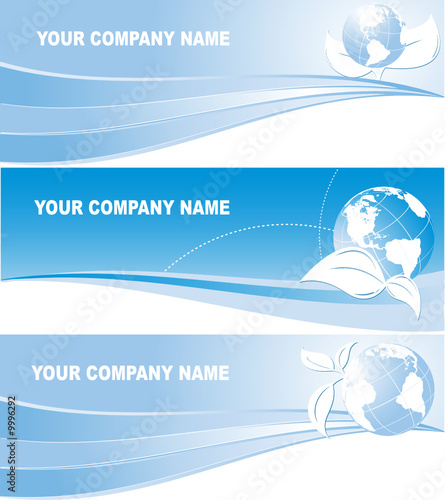 three vector headers with globes for environmental company