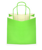 green shopping bag on white, minimal shadow in front poster