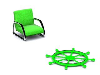arm-chair and rudder. 3d