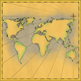 Map of the world illustration,old antique cartography look poster